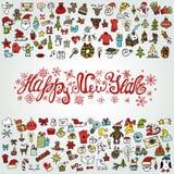 Cartão do ano novo Ícones coloridos, título ilustração stock