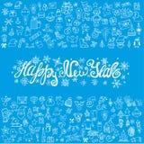 Cartão do ano novo Ícones lineares, título ilustração stock