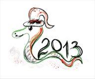 Cartão do ano novo 2013 com serpente Imagem de Stock Royalty Free