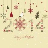 Cartão do ano 2014 novo ilustração stock