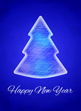 Cartão do ano novo, ano novo feliz Árvore de Natal feita do gelo Vector a ilustração em um fundo triangular azul brilhante Fotos de Stock Royalty Free