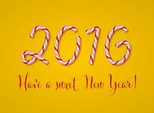 Cartão do ano 2016 novo, ano novo feliz Efeito do texto dos doces do Natal Dígitos do bastão de doces Ilustração do vetor em um f Foto de Stock