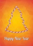 Cartão do ano novo, ano novo feliz Efeito dos doces do Natal, árvore de Natal Ilustração do vetor em um fundo alaranjado brilhant Foto de Stock Royalty Free