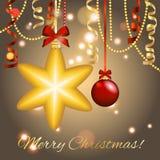 Cartão do ano novo Bola da estrela do Natal com curva e fita Decorações do Xmas Sparkles e bokeh Brilhante e incandescência Imagem de Stock Royalty Free