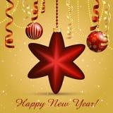 Cartão do ano novo Bola da estrela do Natal com curva e fita Decorações do Xmas Sparkles e bokeh Brilhante e incandescência Foto de Stock