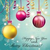 Cartão do ano novo Bola do Natal com curva e fita Imagens de Stock