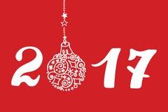 Cartão 2017 do ano novo com a bola do desenho da mão, números ilustração do vetor