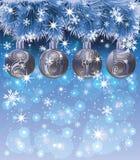 Cartão do ano novo 2015 com bolas e neve do xmas Imagens de Stock Royalty Free