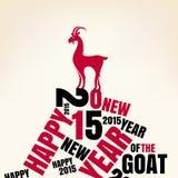 Cartão do ano novo com cabra Imagens de Stock Royalty Free