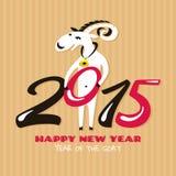 Cartão do ano novo com cabra Fotografia de Stock