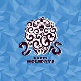 Cartão do ano novo com carneiros Fotografia de Stock Royalty Free