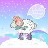 cartão do ano 2015 novo com carneiros e discurso dos desenhos animados Imagens de Stock