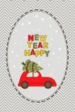 Cartão do ano novo com carro e a árvore vermelhos Fotos de Stock Royalty Free