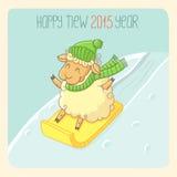 Cartão do ano novo com cordeiro Fotos de Stock