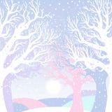 Cartão do ano novo com floresta do inverno Fotografia de Stock