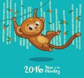 Cartão do ano novo com o macaco pelo ano 2016 Fotografia de Stock Royalty Free