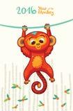Cartão do ano novo com o macaco vermelho pelo ano 2016 Fotos de Stock Royalty Free