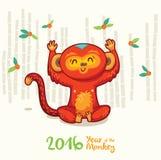 Cartão do ano novo com o macaco vermelho pelo ano 2016 Fotografia de Stock