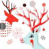 Cartão do ano novo com os retratos dos cervos Imagens de Stock Royalty Free