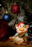 Cartão do ano novo com porco Imagens de Stock Royalty Free
