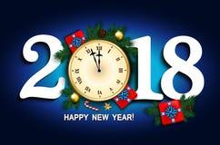 Cartão do ano novo com pulso de disparo Imagens de Stock Royalty Free