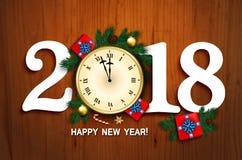 Cartão do ano 2018 novo com pulso de disparo, caixa de presente, bastão de doces, branc do pinho Imagens de Stock