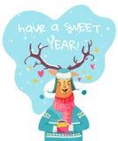Cartão do ano novo com rena alegre ilustração royalty free