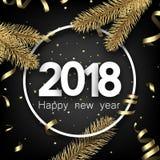 Cartão do ano 2018 novo com serpentina Imagem de Stock