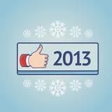 cartão do ano novo com sinal semelhante Fotos de Stock Royalty Free