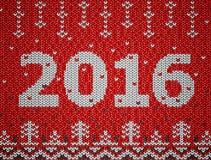 Cartão do ano novo 2016 com textura feita malha Imagens de Stock Royalty Free