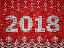 Cartão do ano novo 2018 com textura feita malha Imagem de Stock Royalty Free