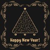 Cartão do ano novo com um labirinto triangular Encontre o trajeto direito à estrela Jogo para miúdos Árvore de Natal Enigma do la ilustração stock