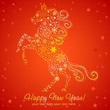 Cartão do ano novo do cavalo feito dos flocos de neve Fotografia de Stock Royalty Free