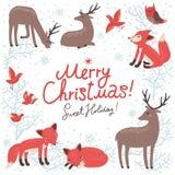 Cartão do ano novo do Natal com cervos e raposas ilustração do vetor