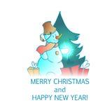 Cartão do ano novo e do vetor do Natal Imagens de Stock Royalty Free