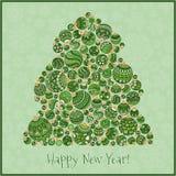Cartão do ano novo feliz Árvore de Natal do illustra das bolas Fotos de Stock