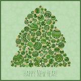 Cartão do ano novo feliz Árvore de Natal do illustra das bolas Fotografia de Stock Royalty Free