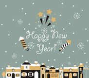 Cartão do ano novo feliz, cidade do inverno ilustração do vetor