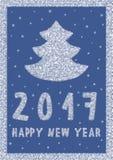 Cartão 2017 do ano novo feliz com a árvore de Natal feita dos flocos de neve Fotografia de Stock