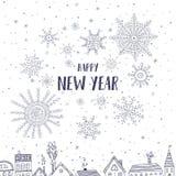Cartão do ano novo feliz com as casas na cidade Imagens de Stock Royalty Free