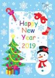 Cartão 2019 do ano novo feliz com boneco de neve, árvore de Natal e presentes Ilustração do vetor ilustração stock