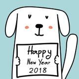 Cartão do ano novo feliz 2018 com cão bonito Fotos de Stock Royalty Free