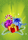 Cartão do ano novo feliz com caixas de presente coloridas Foto de Stock