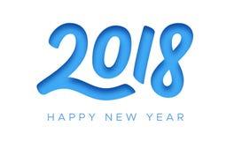 Cartão 2018 do ano novo feliz com corte do papel Imagens de Stock Royalty Free
