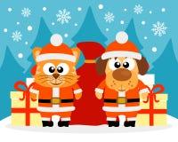Cartão do ano novo feliz com gato e cão Imagem de Stock Royalty Free