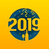 Cartão do ano 2019 novo feliz com números cutted, garrafa de Champagne e vidro Vetor ilustração stock