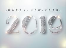 Cartão 2019 do ano novo feliz com números de prata no fundo branco Ilustração do vetor Inseto do Feliz Natal ou ilustração do vetor