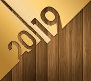 Cartão do ano 2019 novo feliz com os números cutted do papel do ouro no fundo de madeira Vetor ilustração do vetor