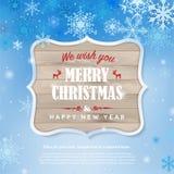 Cartão do ano novo feliz com quadro de madeira e flocos de neve ilustração do vetor