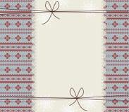 Cartão do ano novo feliz com quadro do laço e os ornamen à moda Imagens de Stock Royalty Free